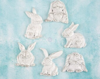 Prima Shabby Chic Treasures Collection Ingvild Bolme Resin Rabbits Embellishments Bunnies