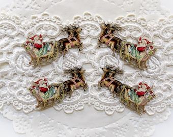 Reneabouquets Printed Beautiful Board Santa's Sleigh Itty Bitty Set Of 4 Laser Cut Chipboard Choose  1 3/4 Inch or 2 Inch