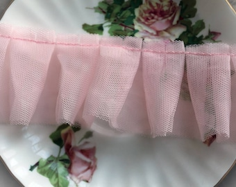 Reneabouquets Trim- Tattered Pink Tulle 2 1/4 Inch Wide Trim, Wedding Trim, Sewing, Scrapbook, crafts, tulle, pleated, lace