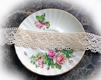 Reneabouquets Trim- Natural Cotton Crochet Cluny Lace 001, Vintage Lace, Wedding Trim, Sewing, Scrapbook, crafts