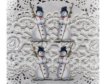 Reneabouquets Printed Beautiful Board Snowman Itty Bitty Set Of 4 Laser Cut Chipboard Choose 1 1/2 Inch, 1 3/4 Inch, 2 Inch