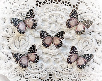 Reneabouquets Tiny Treasures Butterfly Set - Cherry Blossom Premium Paper Glitter Glass Butterflies