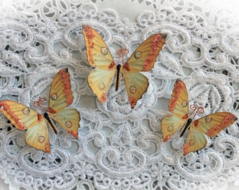 Reneabouquets Butterfly Set -  Memory Box Glitter Glass Butterflies Scrapbook Embellishment, Wedding, Decoration, Home Decor