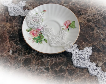 Reneabouquets Trim- 2 1/4  Inch Wide Princess Crown Off White Lace, Embroidery,  Venice , Bridal, Costume Design, Lace Applique, Crafting
