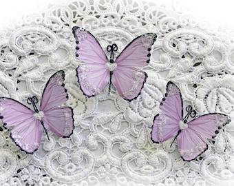 Reneabouquets Butterfly Set Sweetheart Lavender Glitter Glass Butterflies Scrapbook Embellishment, Wedding, Party Decor, Home Decor