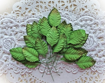 Reneabouquets Leaf Set-Mulberry Paper Medium Leaves- 25 Individual Leaf Pieces With Stems