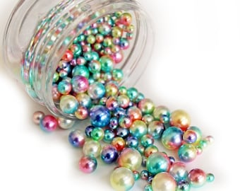 Reneabouquets Beautiful Beads ~ Iridescent Pearls In Color Fairy Lights Choose Your Size .6 oz Jar or 1.8 oz Jar