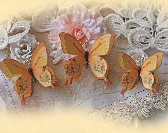 Reneabouquets Butterfly Set - Vintage Autumn Rose Double Layer Butterflies Scrapbook Embellishment, Wedding Decoration, Home Decor