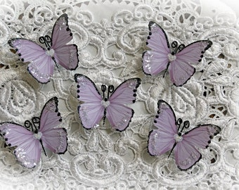 Reneabouquets Tiny Treasures Premium Paper Butterfly Set-  Sweetheart Glitter Glass Lavender Butterflies