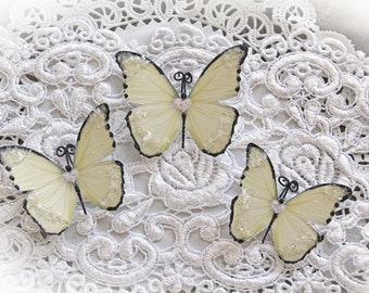 Reneabouquets Handcrafted Butterfly Set Sweetheart Soft Yellow Glitter Glass Butterflies