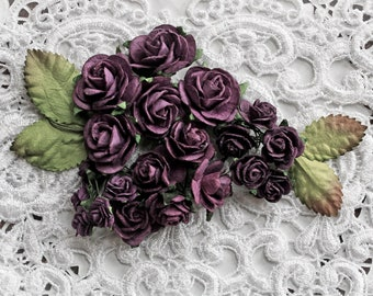 Reneabouquets Mini Roses And Leaves Flower Set-Mulberry Paper Flowers  - Plum Set Of 24 Pieces In Organza  Bag
