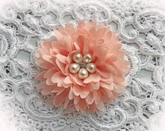 Reneabouquets Flower -So Shabby Blush Peach Chiffon Large Flower,  Pearl And Rhinestone Fabric Flowers