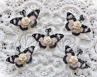 Reneabouquets Tiny Treasures Butterfly Set-  My Romantic Heart Glitter Glass Butterflies With Mini Rose Body Accent
