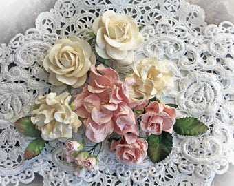 Reneabouquets Curly Roses & Gardenias Flower Set -Cotton Candy Mulberry Paper Flowers - Set Of 16 Pieces In Organza Storage Bag