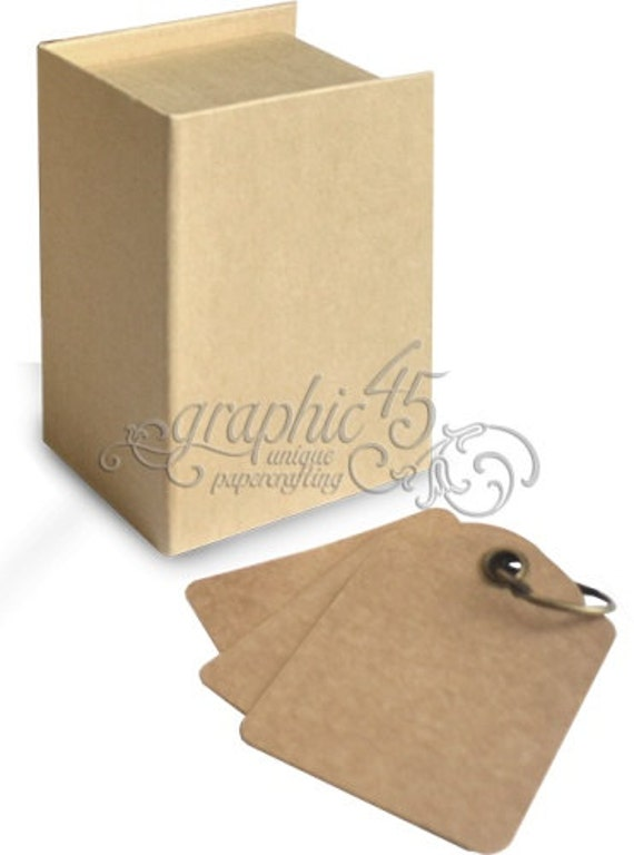 graphic 45 staples kraft tag album book box includes box and etsy