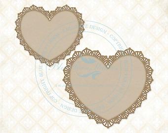 Blue Fern Studios Laser Cut Chipboard Frilly Hearts Set Of 2
