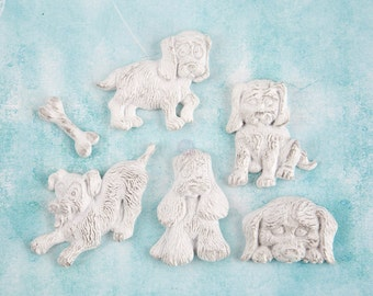Prima Shabby Chic Treasures Collection Ingvild Bolme Resin Puppies Embellishments Dogs