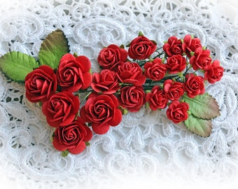 Reneabouquets Mini Roses And Leaves Flower Set-Mulberry Paper Flowers - True Red Set Of 24 Pieces In Organza  Bag