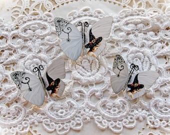 Reneabouquets Originals Halloween Butterfly Set - Little Vintage Witch Premium Paper  Butterflies With Orange Accents