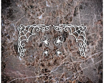 Reneabouquets Beautiful Board Cobweb Corners With Spiders Set Of 6 Laser Cut Chipboard Double Side Coated In Size Large, Medium & Small