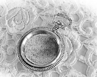 Reneabouquets Trinkets - Victorian Tarnished Silver Pocket Watch Cabochon,  Metal Scrapbook Embellishment,  Jewelry Charm