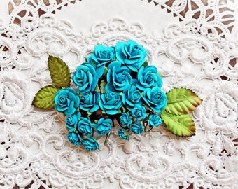Reneabouquets Mini Roses And Leaves Flower Set-Mulberry Paper Flowers  -Dark Teal  Set Of 24 Pieces In Organza  Bag