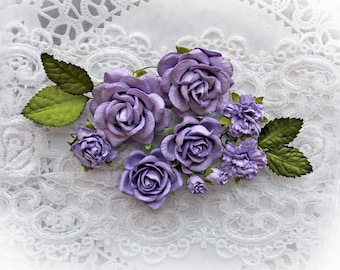 Reneabouquets Roses And Leaves Flower Set-Mulberry Paper Flowers- Purple  Set Of 13 Pieces In Organza Storage Bag