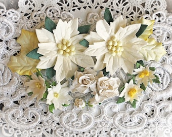 Reneabouquets Christmas Flower Set -Winter White Poinsettias ,Curly Roses And Holly Mulberry Flowers - 14 Pieces In Organza Storage Bag