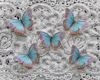 Reneabouquets Tiny Treasures Butterfly Set -  Watercolor Spun Sugar Premium Paper Glitter Glass Butterflies
