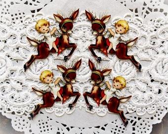 Reneabouquets Printed Beautiful Board Reindeer Joy Ride Itty Bitty Set Of 4 Laser Cut Chipboard Choose 1 1/2 Inch, 1 3/4 Inch, 2 Inch