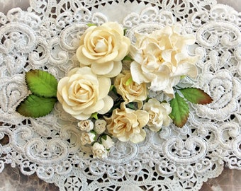 Reneabouquets Curly Roses & Gardenias Flower Set -  Winter White  Mulberry Paper Flowers - Set Of 15 Pieces In Organza Storage Bag