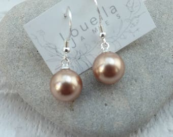 Earrings Sterling Silver Swarovski Pearls Rose Gold