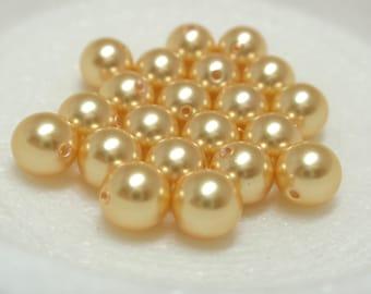 6mm Gold Swarovski Pearls, #5810 Round Gold Swarovski Pearls - 20 Pearls