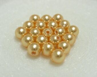4mm Gold Swarovski Pearls, #5810 Round Gold Swaroski Pearls - 20 Pearls