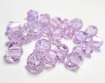 6mm Swarovski Crystal Violet #5328 Xilion Bicone Beads - 24 Crystals