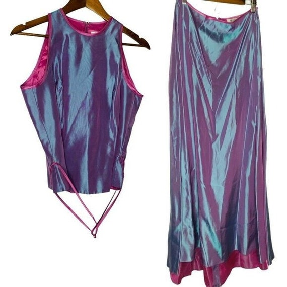 Y2K Retro two Piece Prom Dress Set Hologram