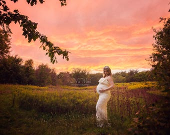Maternity Digital Backdrop// Stunning Sunset Field Digital Backdrop *With LAYERS*/Maternity Backdrop/Fantasy/Beautiful Scenery/Nature/Trees