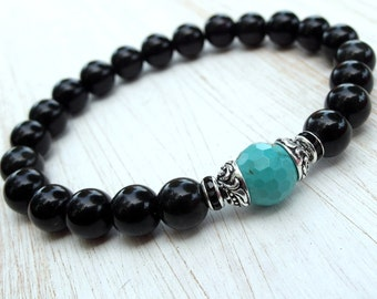 Positive Energy, Rainbow Obsidian, Turquoise, Yoga Bracelet, Meditation, Mala bracelet, wrist Mala, Turquoise bracelet, Obsidian Bracelet