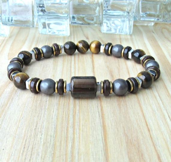Men Chakra Rock Lava Pyrite Gemstone Mala Grounding Energy Bracelet