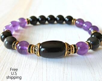 Amethyst, Rainbow Obsidian, wrist mala, Yoga Bracelet, Meditation, Spiritual bracelet, Mala bracelet, Amethyst bracelet, Obsidian Bracelet
