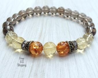Healing & Positivity, Amber, Citrine, Smoky quartz, gemstone bracelet, Yoga Bracelet, Meditation, Reiki, healing bracelet, Energy bracelet