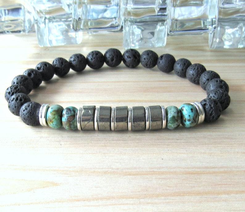 green jewerly lava bracelet african turquoise Men/'s bracelet reiki bracelet tribal bracelet healing Pyrite bracelet silver black