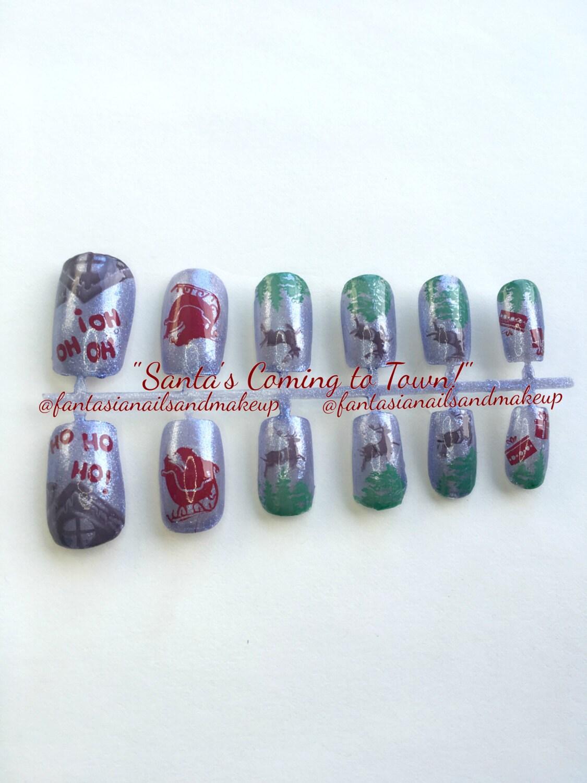 Silver Blue santa holiday nails Christmas nails press on   Etsy