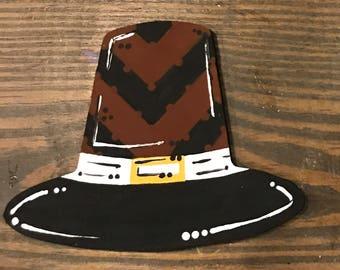"""THANKSGIVING Pilgrim hat 12"""" Door Hanger!"""