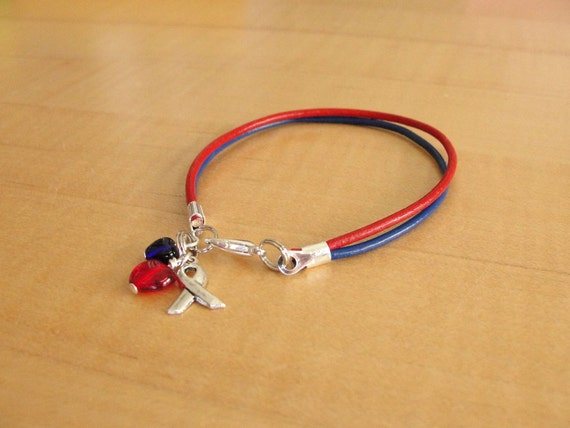 Red and Blue Leather Awareness Bracelet Congenital Heart Defect /& More SADS Noonans Syndrome