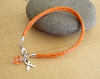 Orange Cotton Awareness Bracelet -  DVT, Kidney cancer, Leukemia, Multiple Sclerosis, RSD, Skin Cancer, Nerve Pain and others