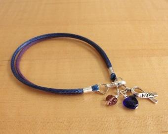 Purple and Blue Awareness Bracelet - Cotton - Rheumatoid Arthritis / RA & Pediatric Stroke