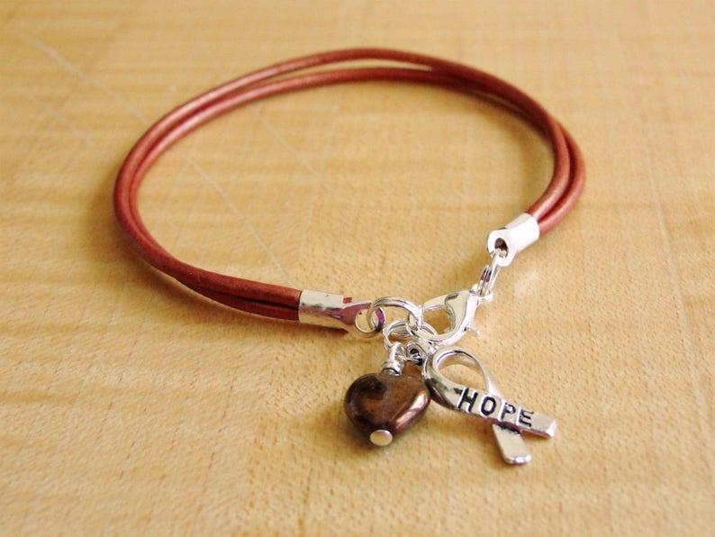 Copper Leather -  MNK Awareness X-linked Copper Deficiency Menkes Disease Awareness Bracelet