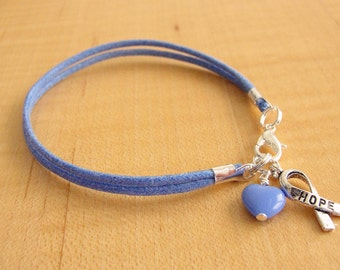 Periwinkle Awareness Bracelet (Cotton) - Cleft Palate, Eating Disorders, Esophageal Cancer, Stomach Cancer, GERD, IBS, PH  & More
