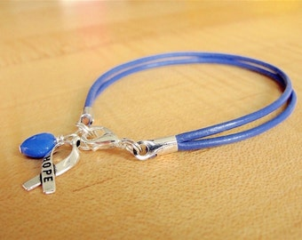 Periwinkle Awareness Bracelet (Leather) - Cleft Palate, Eating Disorders, Esophageal Cancer, Stomach Cancer, GERD, IBS, PH  & More